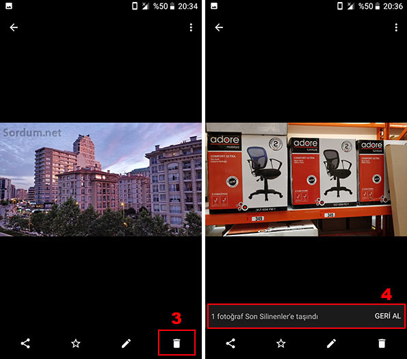 Androidte fotoğraf silmek