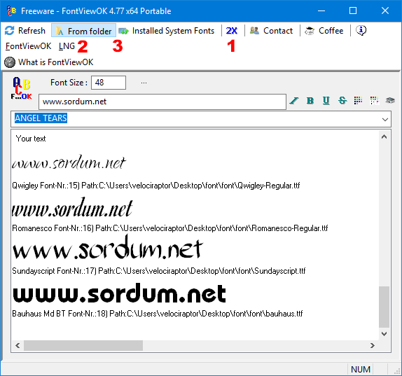 Fontviewok yazılım arayüzü