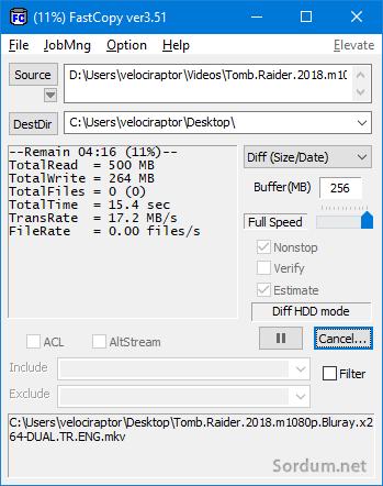 Fast copy kopyalama ekranı