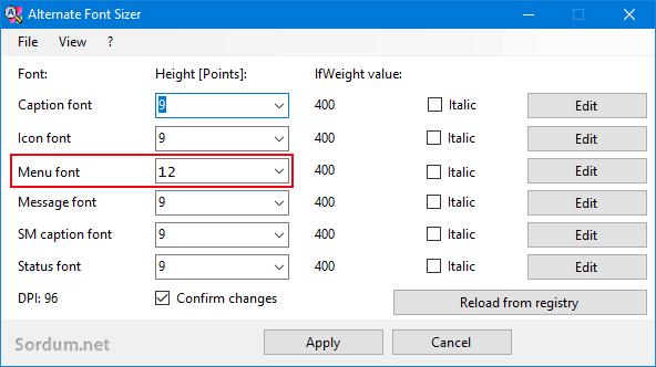 Menü font büyüklüğü nasıl değiştirilir