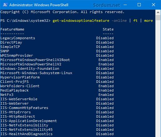 Powershell ile özellik listesi