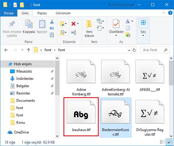 Sisteme yeni Font kuralım