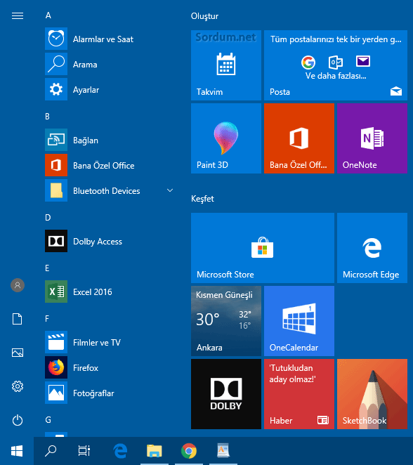 Windows 10 başlat menüsü