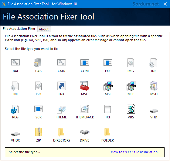 FileAssocFixerTool arayüzü