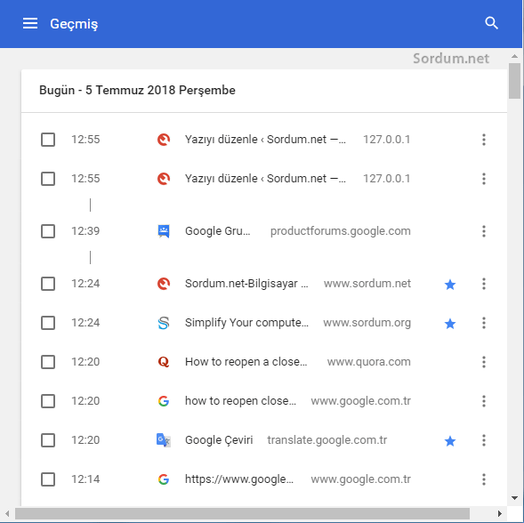 Chrome geçmişinde site bulmak