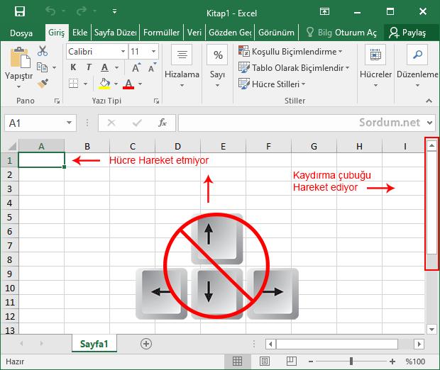 Excelde klavye yön tuşları çalışmıyor