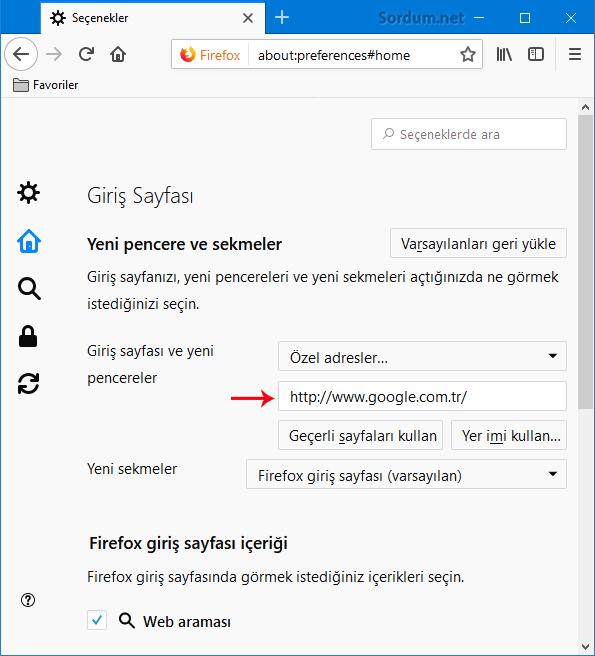 Firefox özel adress