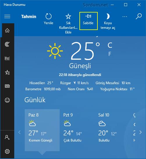 Hava durumunu sabitle