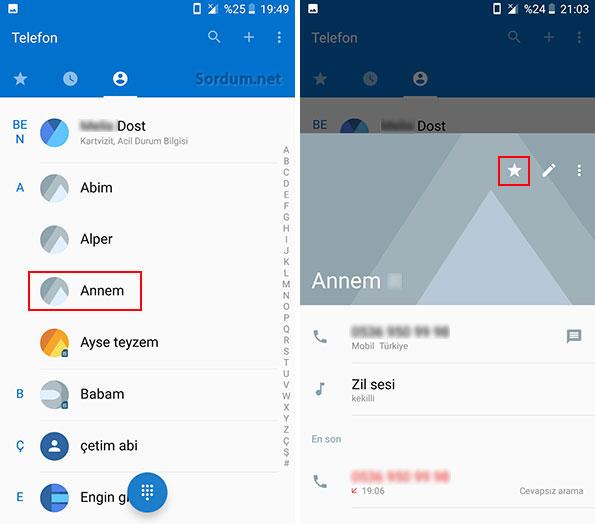Android kişi listesindeki kişi özellikleri