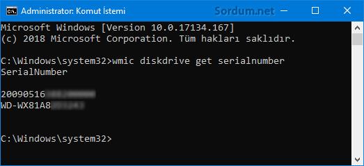 Komutla HDD seri numarasını bulmak