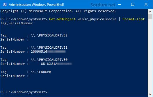 Powershell ile HDD seri numarası bulmak