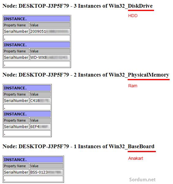 Vbs ile donanım seri numaraları