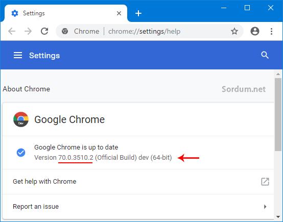Chrome sürüm numarası