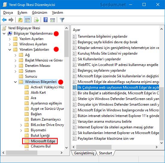 Microsoft EDGE otomatik başlamasın