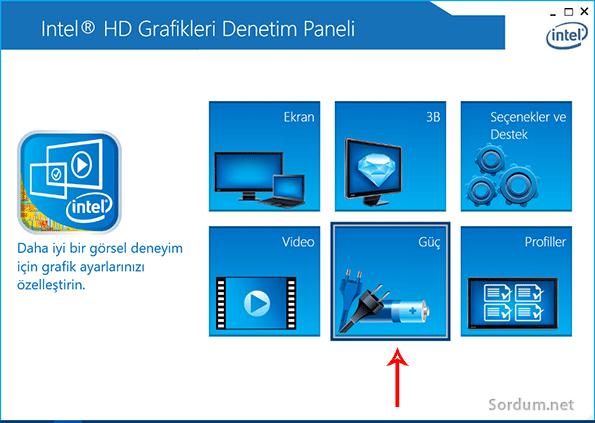 Intel HD güç seçeneği