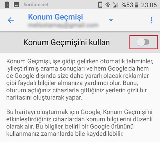 Google konum geçmişi kapalı