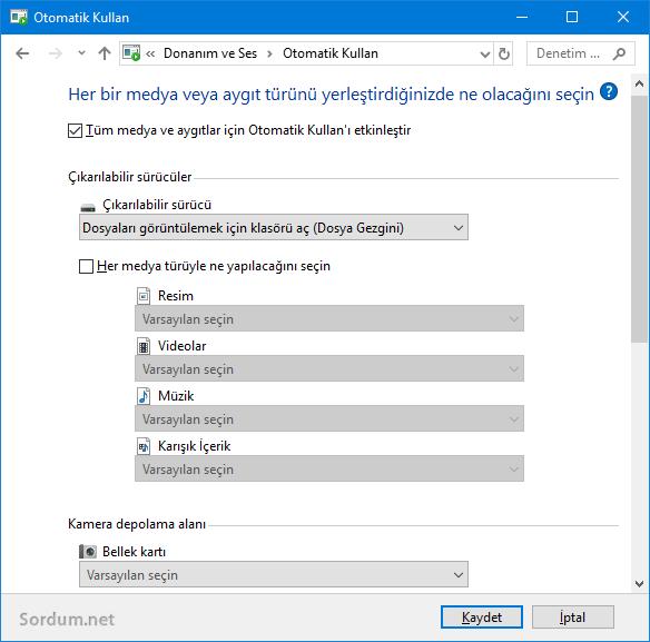 Windows 10 Otomatik kullan ayarlarını yedeklemek