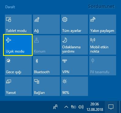 Windows 10 uçak modu