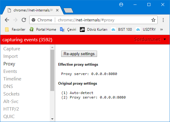 Chrome proxy ayarları