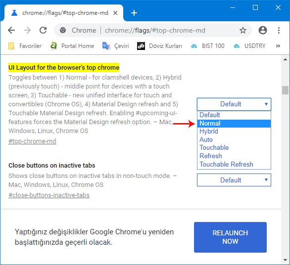 Chromede eski arayüze geçiş