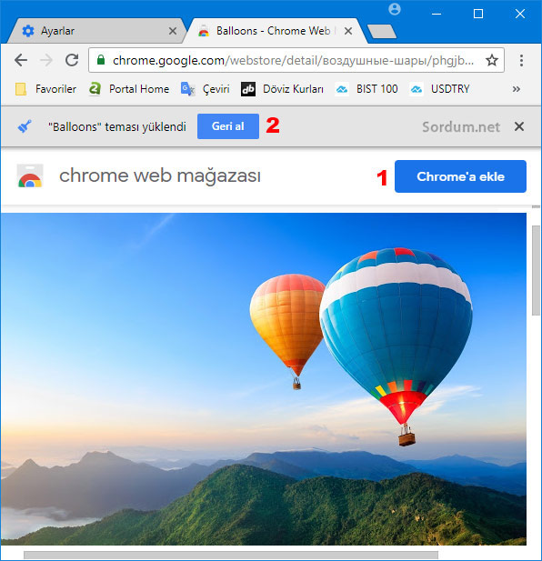 Chromeye tema eklemek