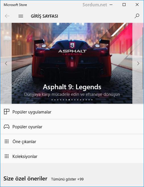 Microsoft store uygulaması