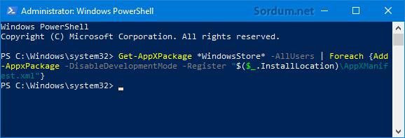 Microsoft Storeyi tekrar kuralım
