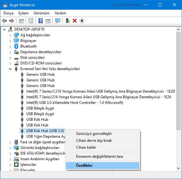 USB kök özellikleri