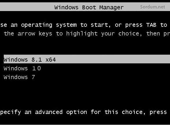 Windows multiboot menu