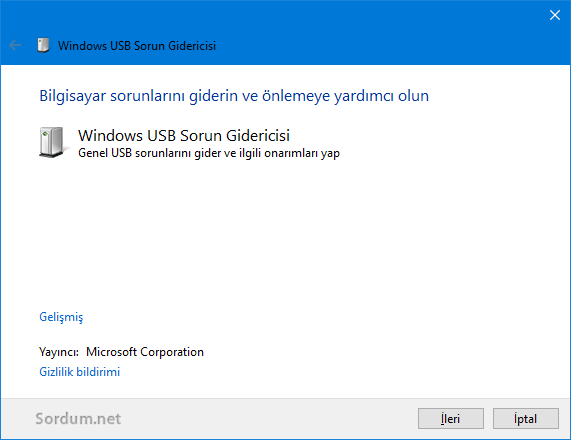 Windows USB sorun gidserici