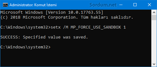 Defender Sandbox aktif