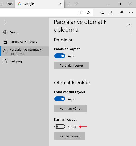 Microsoft EDGE Kartları kaydet