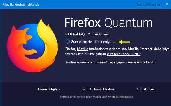Firefox güncellemeler denetleniyor