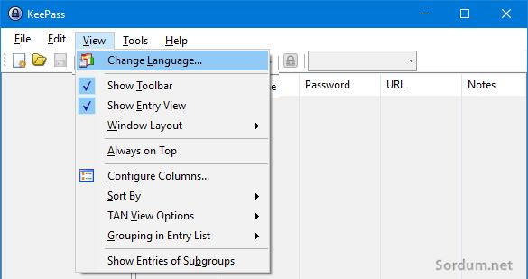 keePass dil değiştirme