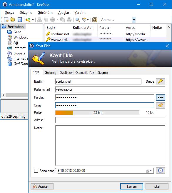 Keepass yeni şifre oluşturmak