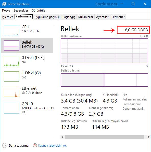 Programsız RAM bilgisi