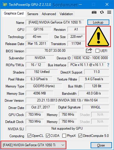 Gpu-z ile sahte grafik kartı tespiti