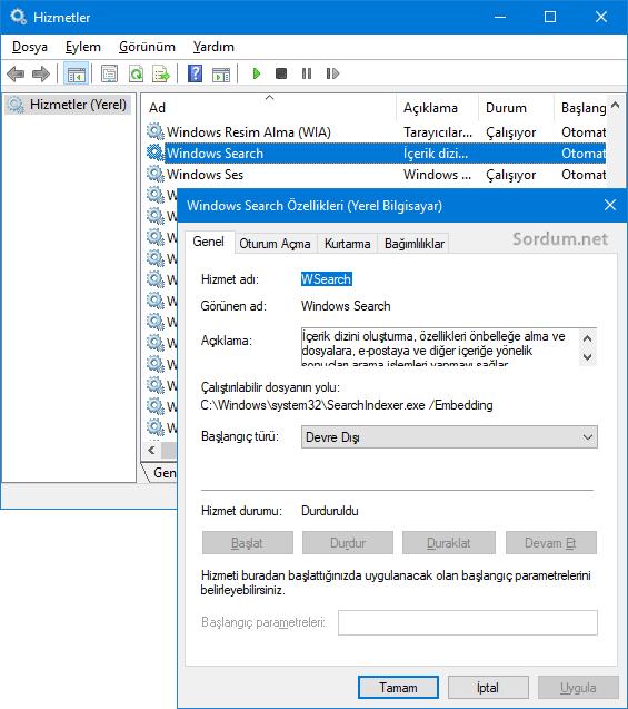 Windows aramayı durduralım