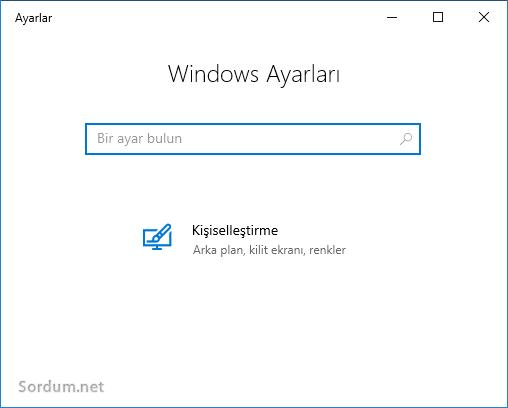 Windows ayarlar sayfasında kısıtlama