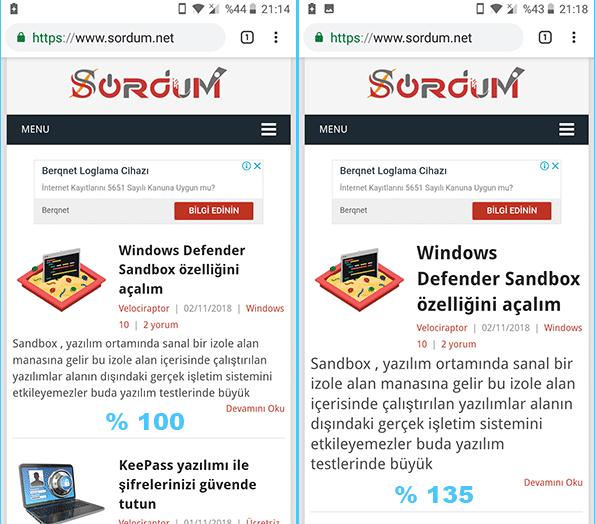 Chromede yazı boyutu