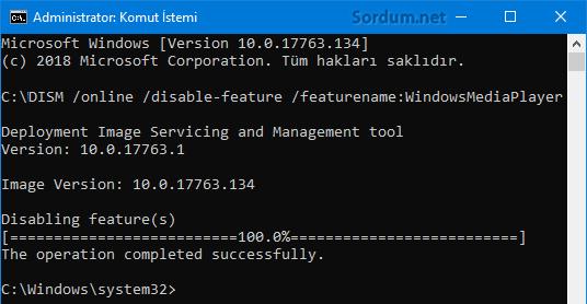 DISM ile windows özelliğini devre dışı bırakmak