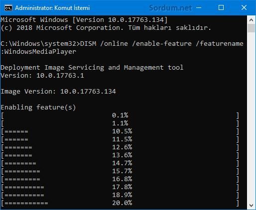 DISM ile windows özelliğni aktif etmek