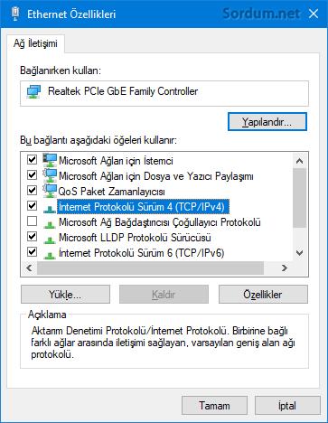 Ethernet özellikleri penceresi