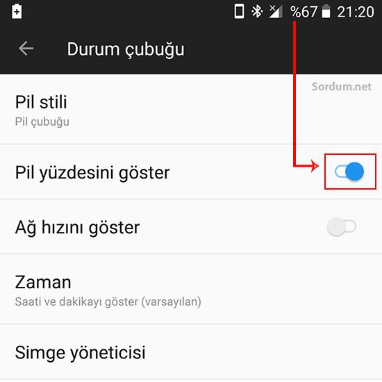 Android pil yüzdesini göstersin