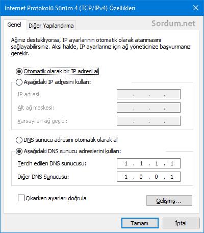 tcp/ip özellikleri penceresi