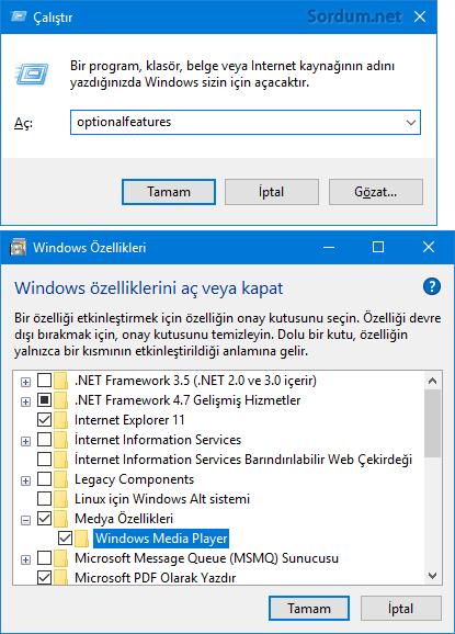 Windows özellikleri penceresi