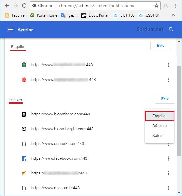 Chrome site izinleri