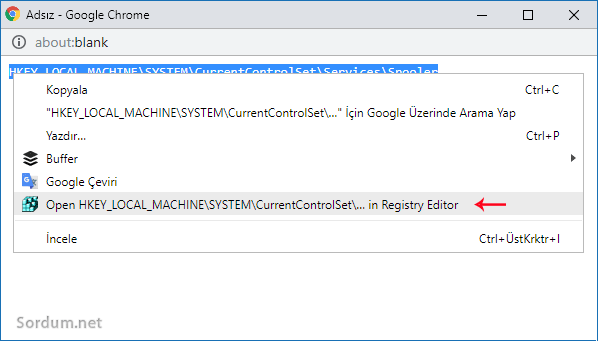 Chrome ile registrye zıpla