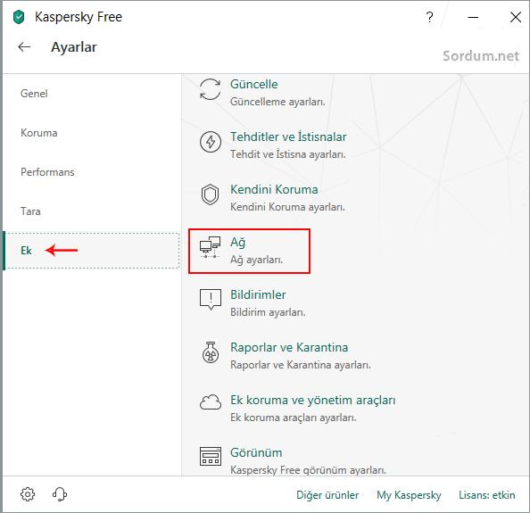 Kaspersky ağ ayarları