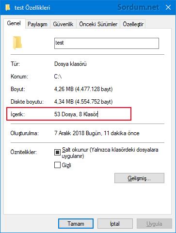 ozelliklerden klasor ve dosya sayısı